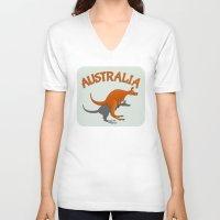 australia V-neck T-shirts featuring Kangaroo Australia by mailboxdisco