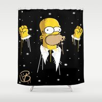 simpson Shower Curtains featuring Mr Homer Simpson by Lewismv3