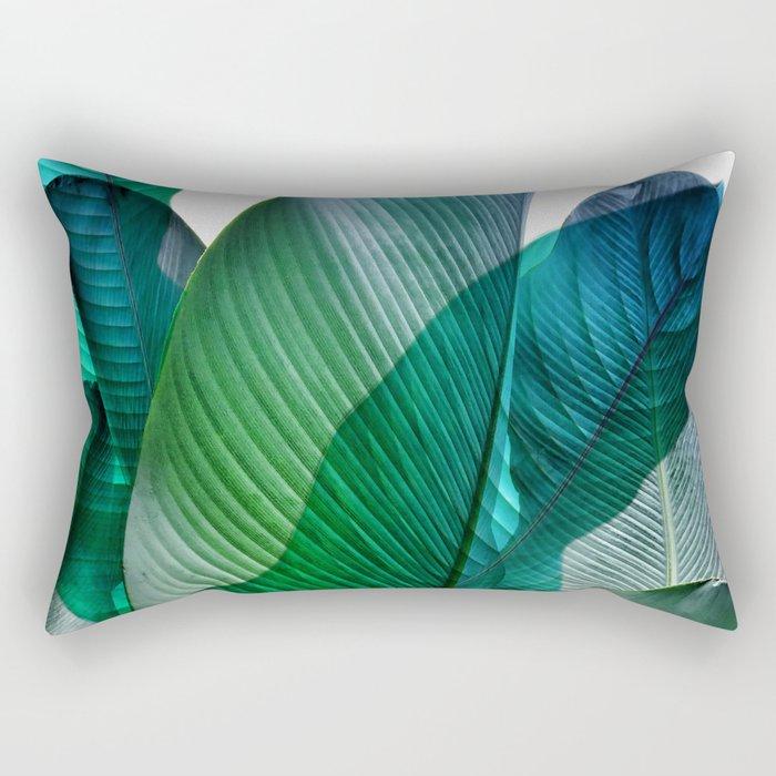 Palm leaf jungle Bali banana palm frond greens Rectangular Pillow