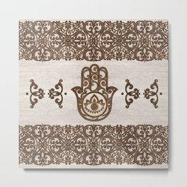 Hamsa Hand - Hand of Fatima  wooden texture Metal Print