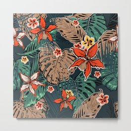 Tropical Pattern With Palm Leaves And Tropical Hibiscus Flowers on Dark Background. Metal Print