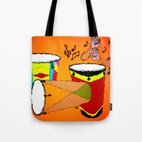 drums Tote Bags featuring Conga Drums by TNP Scribble