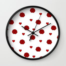 cute lovely pattern with red rose and hearts Wall Clock