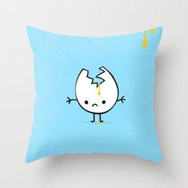 sad mr egg blue Throw Pillow