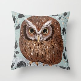 Painted Owl Throw Pillow