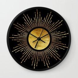 Golden Sunburst Starburst Noir Wall Clock