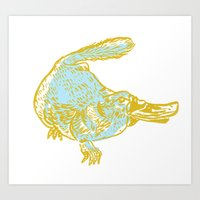 platypus Art Prints featuring Platypus by sophieheywood