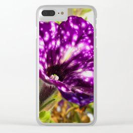 Unic ultra violet petunia flower night sky Clear iPhone Case