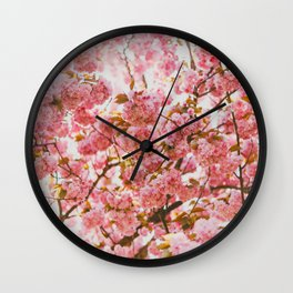 Beautiful Bundles Of Pink Cherry Blossoms In Full Bloom Japanese Sensibility Wall Clock