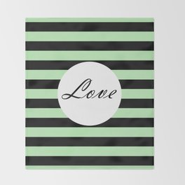 Vintage Love - Pastel green and black design Throw Blanket