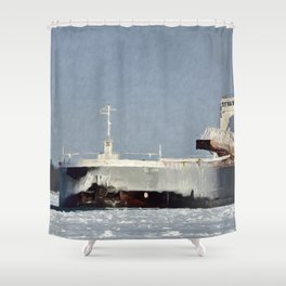 St. Clair Freighter in Neebish Channel Shower Curtain