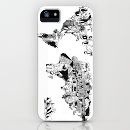 world map black and white iPhone Case