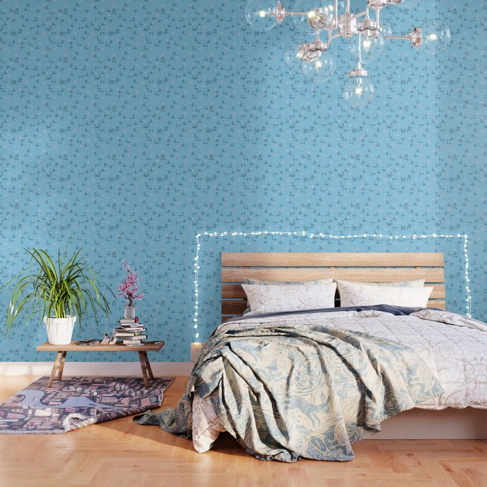 Retro Baby Blue Atomic Age Pattern Wallpaper By Tjustleft