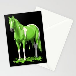 Neon Green Wet Paint Horse Stationery Cards