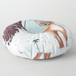 The deer in its winter forest Floor Pillow