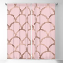 Rose gold mermaid scales Blackout Curtain