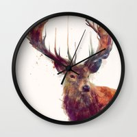 amy hamilton Wall Clocks featuring Red Deer // Stag by Amy Hamilton