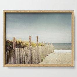 Beach Fence Photography, Blue Brown Coastal Photo, Seashore Dune Sand, Ocean Seaside Serving Tray