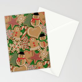 Christmas Holiday Gingerbread Cookies // Gingerbread Boys and Girls, Snowmen, Snowflakes, Xmas Trees and Candy Cane Stationery Cards