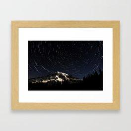 Mount Rainier Star Trails  Framed Art Print