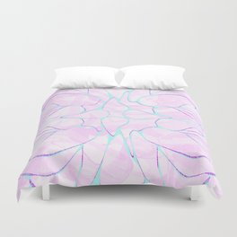 Abstract Mint Pink Flower Pattern Duvet Cover