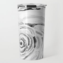 Roses For A Romantic Heart, Black and White Travel Mug