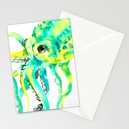 Octopus, yellow, turquoise green octopus lover art Stationery Cards