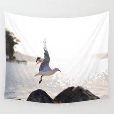 Seagull takes flight over Dunedin's MacAndrew Bay Wall Tapestry