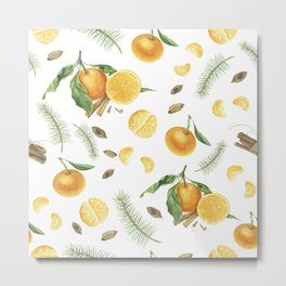 Tangerines, spices and branches of tree Metal Print