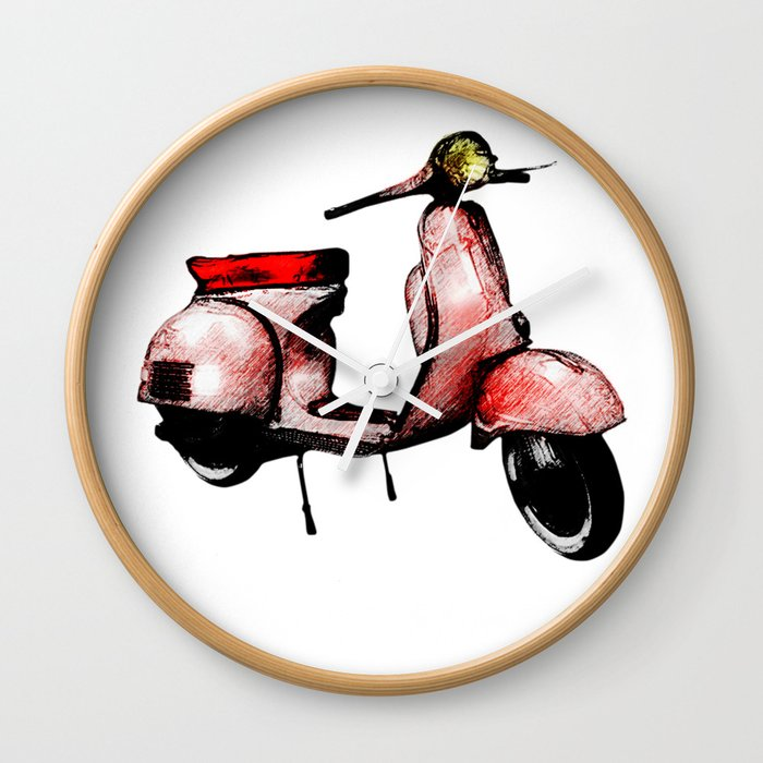 Red Vespa Scooter Wall Clock