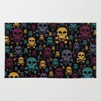 skulls Area & Throw Rugs featuring Skulls by Alice Gosling