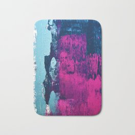 Early Bird: A vibrant minimal abstract piece in blues and pink by Alyssa Hamilton Art Bath Mat