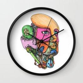 Female Humanoid Robot Head Tattoo Wall Clock
