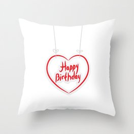 Happy birthday. red paper heart on White background. Throw Pillow