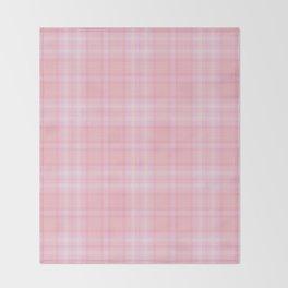 Pink Blush Plaid Pattern Throw Blanket