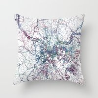 pittsburgh Throw Pillows featuring Pittsburgh map by MapMapMaps.Watercolors