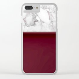Marble Burgundy Two tone Stone design Clear iPhone Case