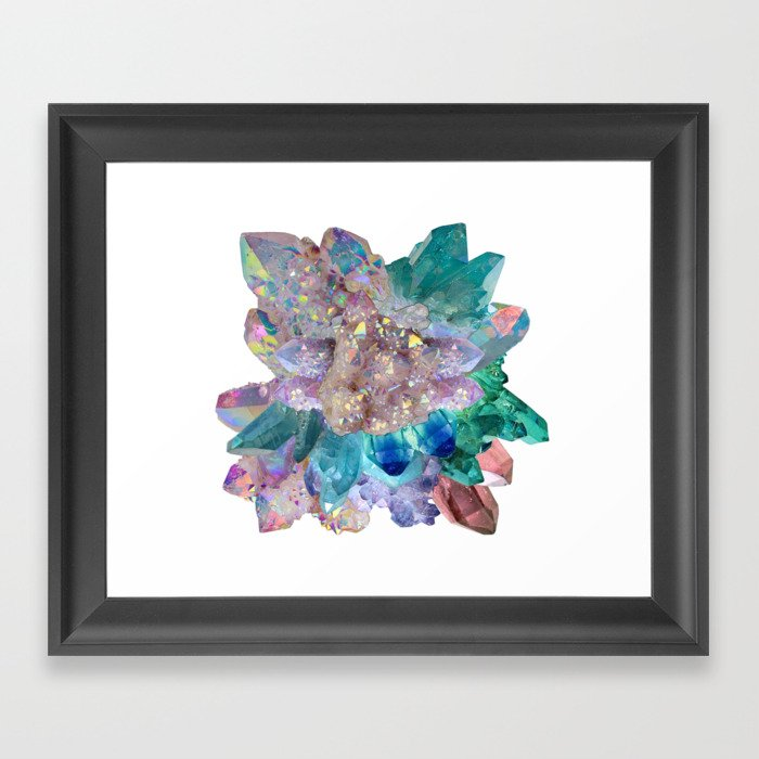 Aura Crystal Bouquet Mandala Framed Art Print