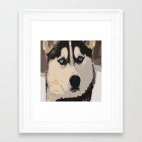duvet cover Framed Art Prints featuring DOG DUVET COVER by aztosaha