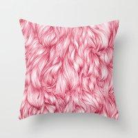 beard Throw Pillows featuring Beard. by Raquel  Carrero .