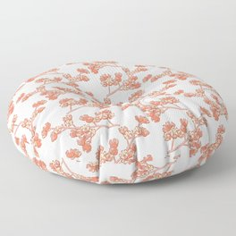 Branch with Flower Nuts Pattern Floor Pillow