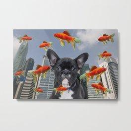 singapur Skyline with French Bulldog and Goldfish Illustration Metal Print