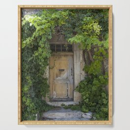 Provence Door covered with green vines Serving Tray