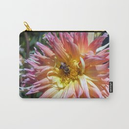 The Apricot Dahlia And The Bee Carry-All Pouch