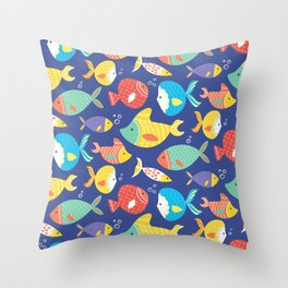 Seamless pattern of different kind sea multicolored fishes Throw Pillow
