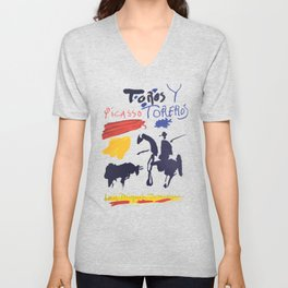 Toros Y Toreros (Bulls and Bullfighters) Artwork By Pablo Picasso T Shirt, Book Cover Unisex V-Neck