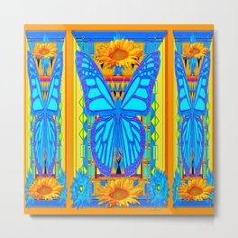 Blue Butterflies Gold Floral Deco Art Metal Print