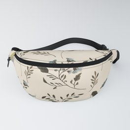 Ivory Cream and Bluebells and Bluebirds Floral Pattern Flowers in Blue and Bark Brown Fanny Pack