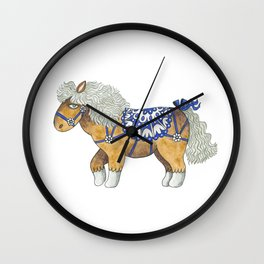 Blue Ribbon Mini Horse Wall Clock