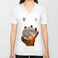 baseball V-neck T-shirts featuring Baseball Moon by Mel Moongazer